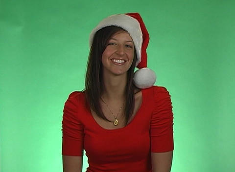 Beautiful Brunette Blows a Holiday Kiss Footage