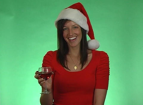 Sexy Brunette Offers a Christmas Toast Stock Video Footage