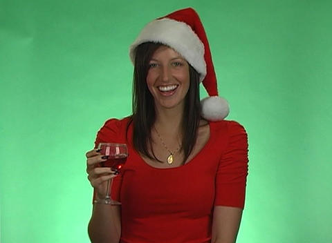 Sexy Brunette Offers a Christmas Toast Footage