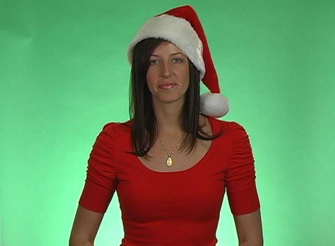 Merry Christmas from a Beautiful Brunette Stock Video Footage