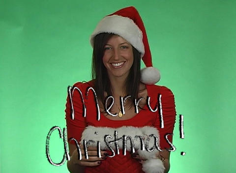 Merry Christmas from a Beautiful Brunette Footage