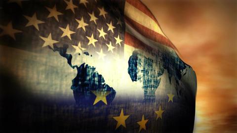 (1126) Multi-national Flag USA, EU and World Map Composition Animation