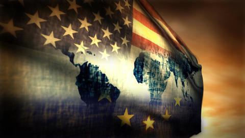 (1126) Multi-national Flag USA, EU and World Map Composition Stock Video Footage