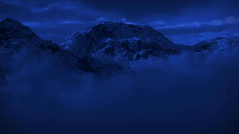 (1125) Snowy Mountain Wilderness Moonlight Night Snow Storm Animation