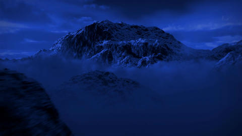 (1125) Snowy Mountain Wilderness Moonlight Night Snow Storm Stock Video Footage