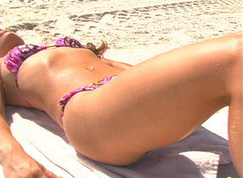 Bikini-clad Brunette on the Beach-2b Stock Video Footage