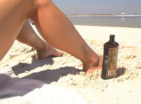 Bikini-clad Brunette on the Beach-3b Stock Video Footage