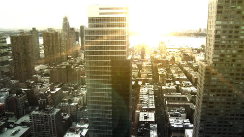 NYC Skyline, Pan w/ Sunset Flare Stock Video Footage