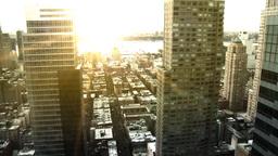 NYC Skyline, Pan w/ Sunset Flare Stock Video Footage