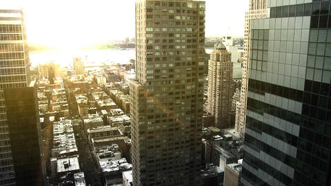 NYC Skyline, Pan w/ Sunset Flare Footage