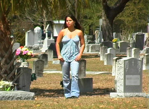 Beautiful Brunette in a Cemetery-1 Footage
