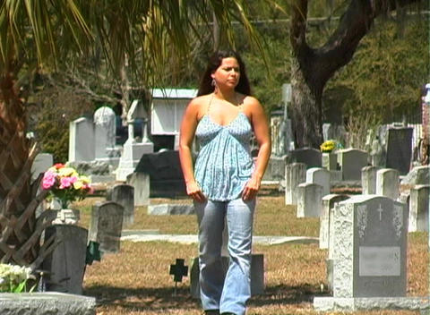 Beautiful Brunette in a Cemetery-1 Stock Video Footage