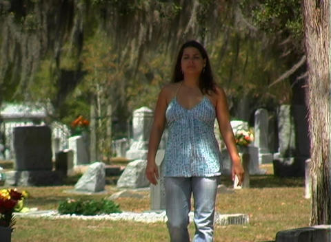 Beautiful Brunette in a Cemetery-3 Stock Video Footage