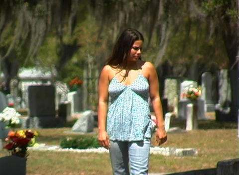 Beautiful Brunette in a Cemetery-3 Footage