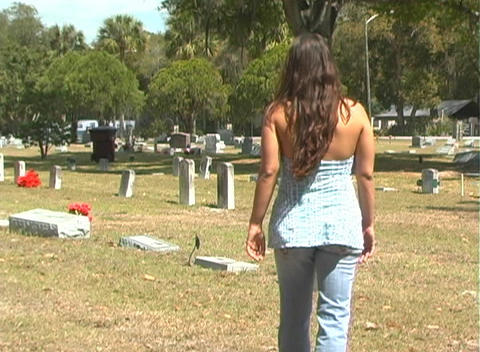 Beautiful Brunette in a Cemetery-5 Stock Video Footage