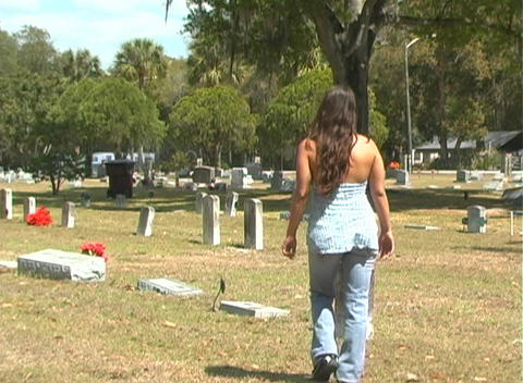 Beautiful Brunette in a Cemetery-5 Footage