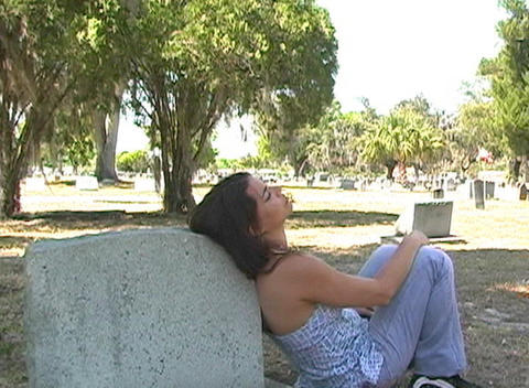 Beautiful Brunette in a Cemetery-7 Footage