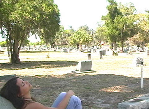 Beautiful Brunette in a Cemetery-7 Stock Video Footage
