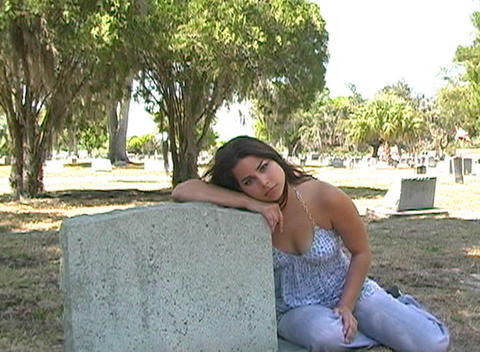 Beautiful Brunette in a Cemetery-9 Footage
