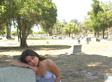 Beautiful Brunette in a Cemetery-9 Stock Video Footage