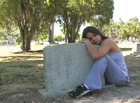 Beautiful Brunette in a Cemetery-11a Stock Video Footage