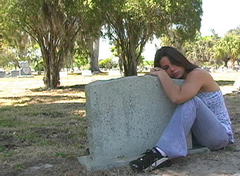 Beautiful Brunette in a Cemetery-12 Footage