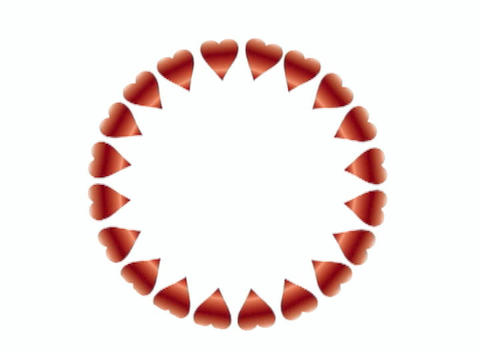 Rotating Circle of Hearts on White Background Animation
