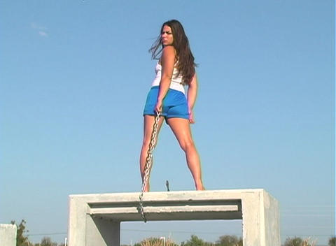 Beautiful Brunette with a Chain-3 Stock Video Footage