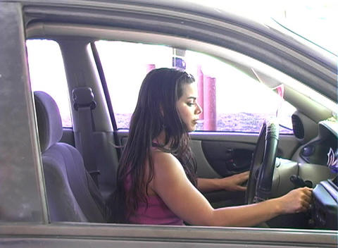 Hot Brunette Enters her Car (sequence) Stock Video Footage