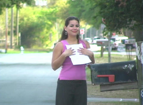 Hot Brunette Gets her Mail-1c Stock Video Footage