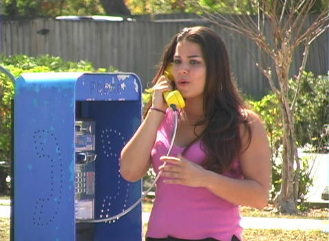 Beautiful Brunette on a Pay Phone--1b Stock Video Footage