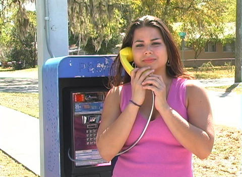Beautiful Brunette on a Pay Phone-4b Stock Video Footage