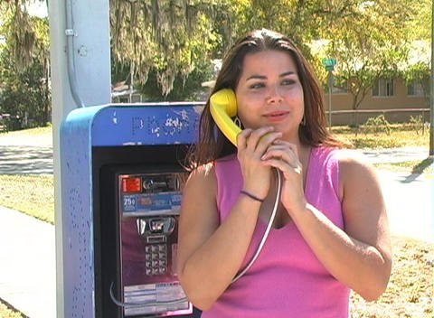 Beautiful Brunette on a Pay Phone-4b Footage