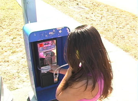 Beautiful Brunette on a Pay Phone-6 Stock Video Footage