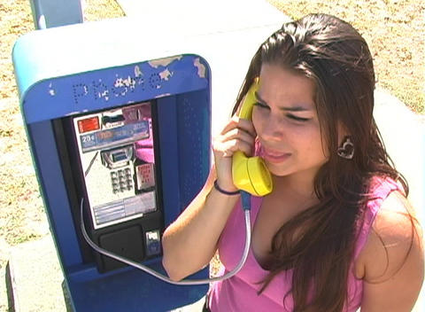 Beautiful Brunette on a Pay Phone-8 Stock Video Footage