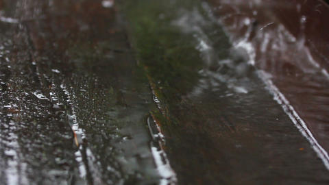 rain drops on old weathered wood Footage