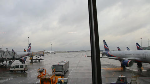 airfield airport timelapse - view from the termina Stock Video Footage