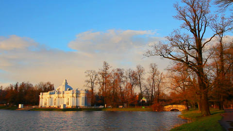 pond in Pushkin Park, Tsarskoye Selo, St. Petersbu Stock Video Footage