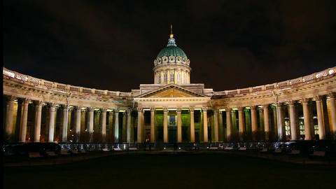 Kazan Cathedral at night in St. Petersburg Stock Video Footage