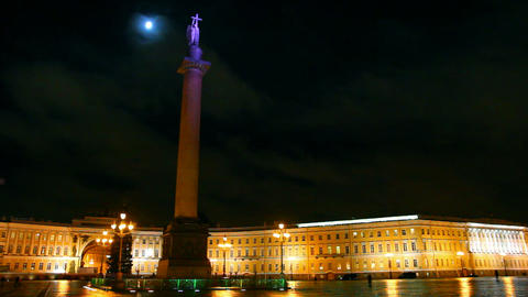 Palace Square in St. Petersburg, moonlit night Footage