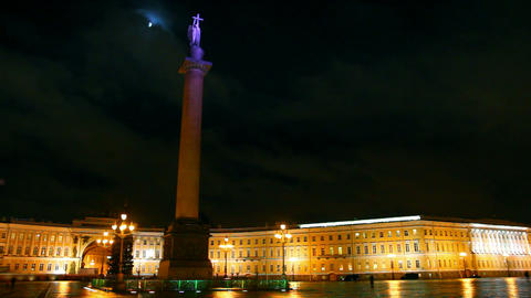 Palace Square in St. Petersburg, moonlit night Stock Video Footage