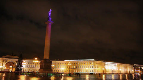 Palace Square in St. Petersburg, moonlit night - t Stock Video Footage
