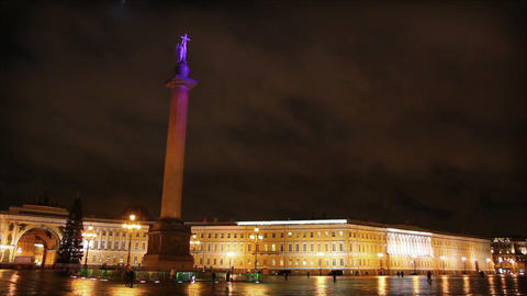 Palace Square in St. Petersburg, moonlit night - t Footage
