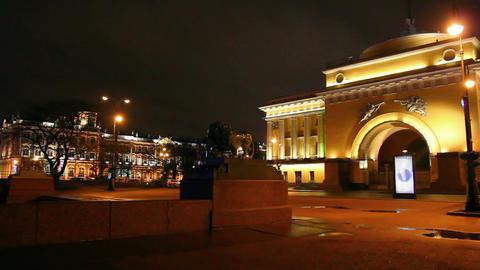 lion statue near hermitage in Saint Petersburg at  Footage