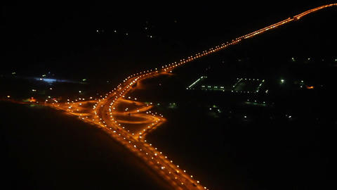 Night view on roads from the height - from flying Stock Video Footage