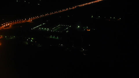 Night view on roads from the height - from flying  Footage