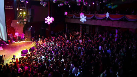 lot of people at concert of popular music Stock Video Footage