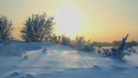 sun rising - winter morning landscape Stock Video Footage