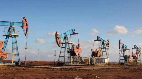 working oil pumps in a row Footage