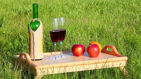 picnic - tabe with wine and fruits Stock Video Footage